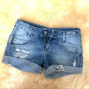 ZARA distressed cuffed denim blue jeans shorts